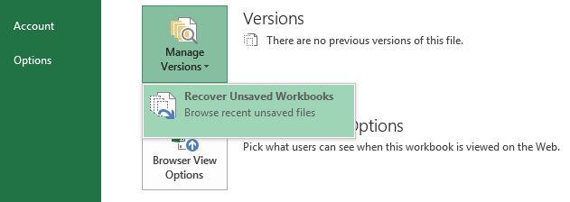 Recover Unsaved Workbooks