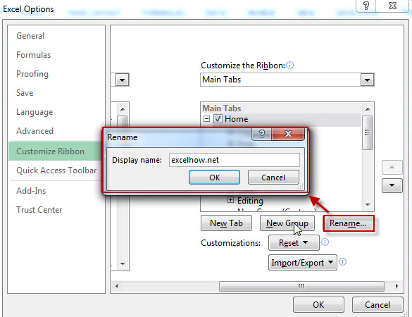 customize the ribbon-rename tab