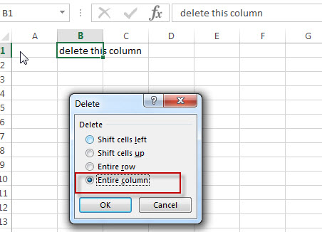 excel column delete entire column