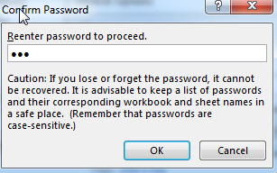 excel confirm password