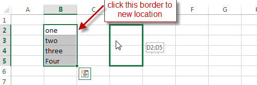 excel move range drap border