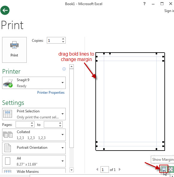 excel print show margins icon