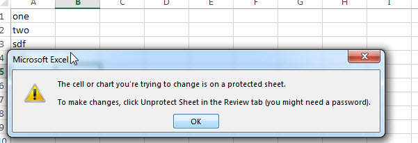 excel protect worksheet result
