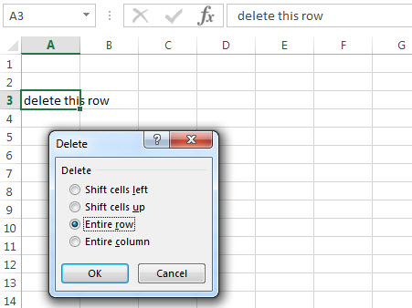 excel row delete entire row