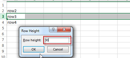 excel row height change window value