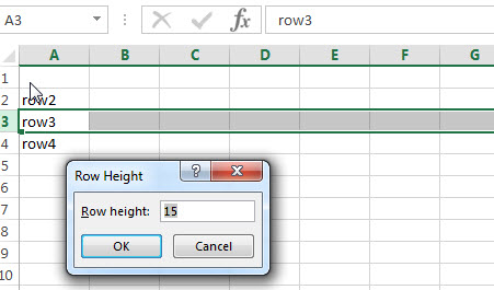 excel row height change window