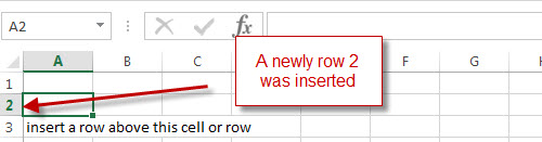 excel row inserted row 2