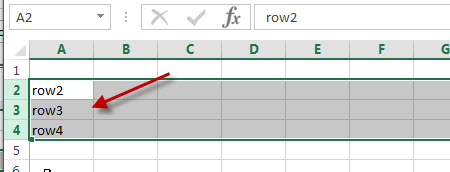 excel row unhide row 2