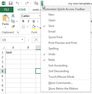excel window quick access toolbar