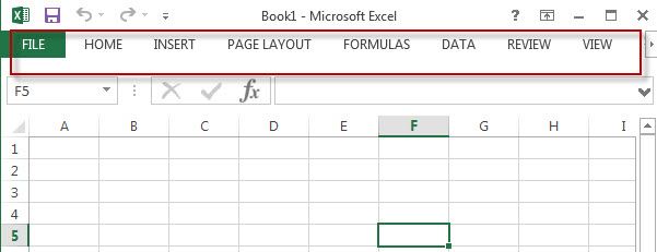 minimized excel ribbon