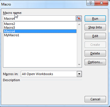 Run a recorded VBA Macro1