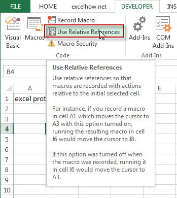 Use Relative Mode to Record Macro1