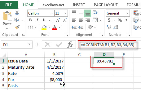 excel accrintM function example1