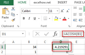 excel acos function example1