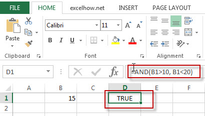 excel and function example1