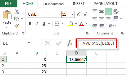 excel average function example1