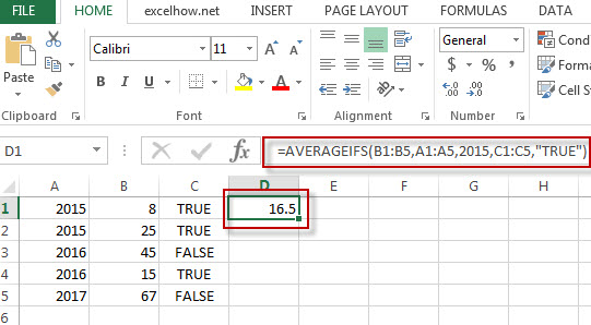 excel averageIFs function example1