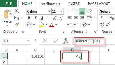 excel bin2dec function example1