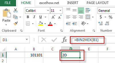 excel bin2hex function example1