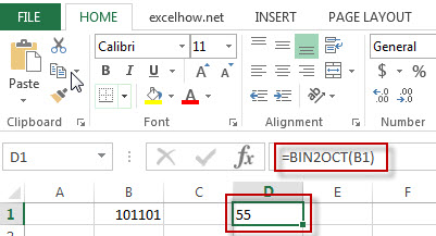 excel bin2oct function example1
