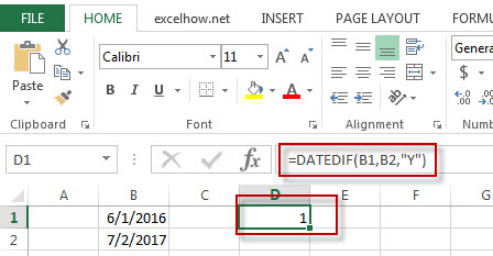 excel datedif function example1