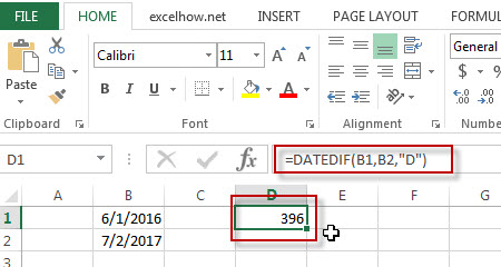 excel datedif function example2