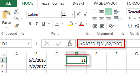 excel datedif function example3