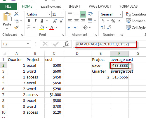 excel daverage function example1