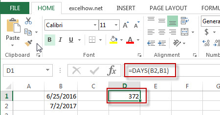 excel days function example1