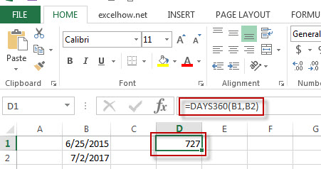 excel days360 function example1