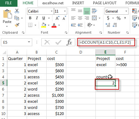 excel dcount function example1
