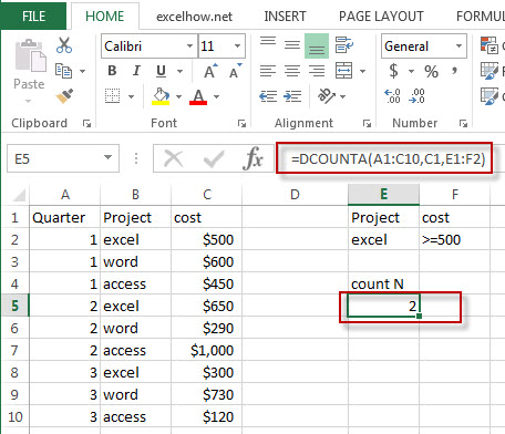 excel dcounta function example1