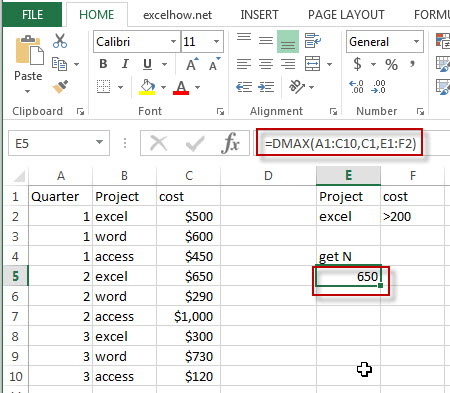 excel dmax function example1