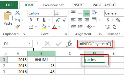 excel info function example2