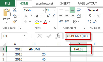 excel isblank function example1