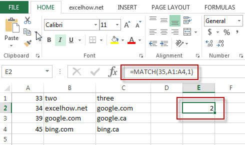 excel match function example1