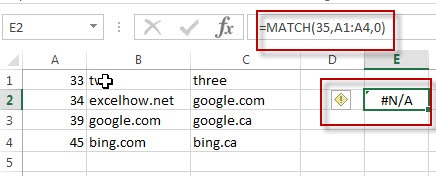 excel match function example2