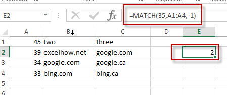 excel match function example3
