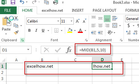 excel mid function example1