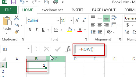 excel row function example2