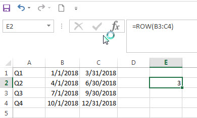 excel row function example3