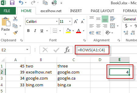 excel rows function example1