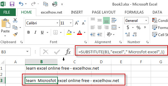 excel substitute function example1