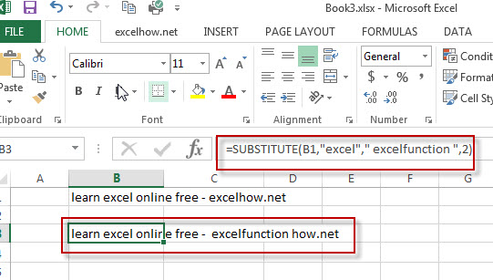 excel substitute function example2