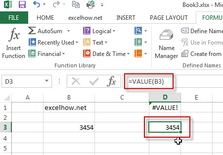 excel value function example