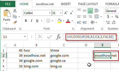 excel vlookup function example1