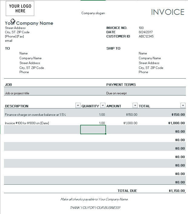 Invoice template with finance charge gray1