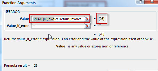 The excel formula of invoiced data3
