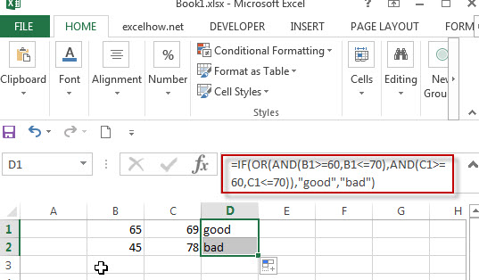 Excel IF formula with AND OR logical functions1
