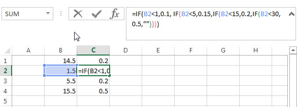 nested if statements in excel